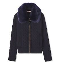 NWT! Tory Burch Faux Fur Navy Contraire Bomber Jacket Sweater, Sz Large, $495