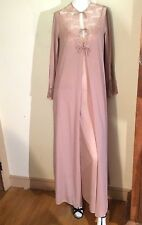 Vintage Formfit Rogers Tawny Brown Opulent Lace Night Gown & Robe Peignoir Set *