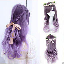 New Lolita Women's  Long Curly Wavy Hair Full Wigs Anime Ladies Purple Ombre Wig