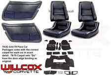 79-82 CORVETTE INTERIOR PACKAGE Leather Like Seat Covers Carpet, Door Panels