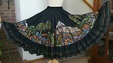 1950's Black Cotton Hand-painted Spanish Mexican Southwestern Circle Skirt BOHO