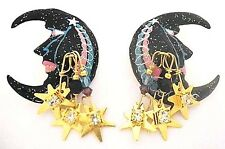 """LUNCH at the RITZ Man in the MOON Dangling STARS Post Earrings ~2-1/2""""~ Crescent"""