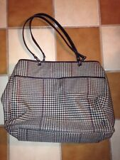 Vintage POLO RALPH LAUREN Canvas Leather HOUNDSTOOTH Shopper Tote Purse Bag