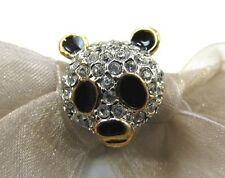 18K GP Panda Bear Swarovski Element Austrian Crystal Rhinestone Brooch Tie Pin