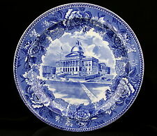 Vintage The State House Boston Wedgwood England Historic Blue Transferware Plate