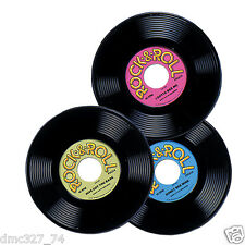"""3 1950s 50s Sock Hop Grease Party Decoration Prop Plastic Rock & Roll RECORDS 9"""""""