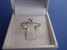 Bague en Or Blanc 18K 750 Sertie d'un Diamant Solitaire de 0,25 Carat - T.52