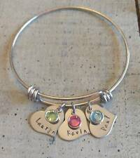 Hand stamped 3 family Name Birthstone charm Bracelet Custom Personalized Mother