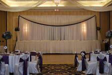 "2 VOILE CHIFFON SHEER WEDDING CURTAIN 9ft DRAPE PANEL BACKDROP 120"" x 108"" WHITE"