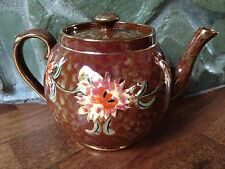 ANTIQUE VINTAGE GIBSON ENGLAND GIBSONS BROWN GOLD FLORAL TORTOISE SHELL TEAPOT