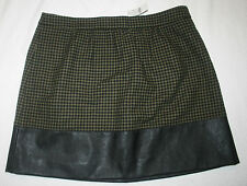 J Crew Factory NWT Faux Leather Trim Wool Houndstooth Skirt Green & Black Sz 16