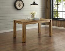 Brown Wood Dining Table Dinner Seating 6 Durable Kitchen Furniture Rustic Home