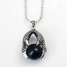 Natural Silver Dragon Claw Wrap Ball Beads Reiki Black Onyx Pendant Necklace Hot