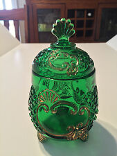 EAPG Riverside Glass Emerald Green Croesus Footed Covered Sugar Bowl