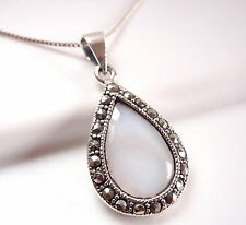 Mother of Pearl Marcasite Pendant 925 Sterling Silver Corona Sun Jewelry
