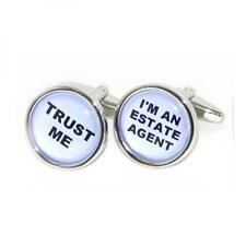 Trust me I'm an Estate Agent Cufflinks Seller White Inlaid Present Gift Box