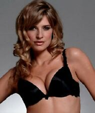 Stunning Black Satin Designer Push Up Large Inserts Plunge Bra 32A RRP £23
