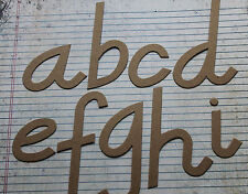 "4"" chipboard script lowercase unfinished/raw alphabet 26 letters"