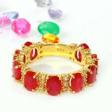 6.91 Carat Natural Ruby 14K Solid Yellow Gold Diamond Eternity Ring Band