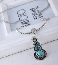 Women Retro Blue Turquoise Crystal Tibet Silver Pendant Necklace Jewelry BX112