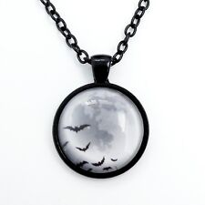 Flying Bats & Full Moon Cabochon Pendant Necklace w/ 55cm Chain Gothic