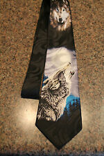 WOLVES Howling At The Moon On A BRAND NEW 100% Polyester BLACK TIE! FREE SHIPPIN