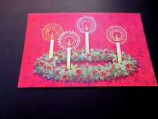 Vintage Unused Glitter Xmas Greeting Card Holiday Advent Wreath With 4 Candles