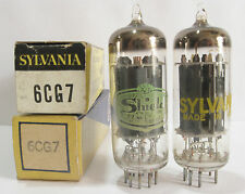 2 matched 1960+/- Sylvania 6CG7 tubes - Gray Plates, Silver Shield, Top O Getter