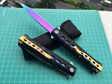 Assisted OpeningPocket Knife  Colorized Folding Saber With Pouch Survival Gift