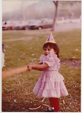 Vintage 80s PHOTO Cute Toddler GIRL In Frilly Pink Dress & Birthday Hat