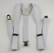 WHITE SUSPENDERS Women Mens MEN'S Braces Belt 85cms Adjustable Formal Casual