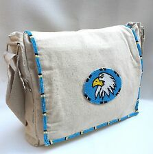 Native American Style Eagle Beaded Canvas Messenger Bag 12 X 10 inch