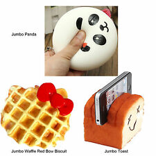 3Pcs Jumbo Panda Waffle Biscuit Red Bow Toast Kawaii Buns Bread Smell Squishies