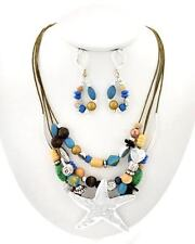 ICON Silver & Turquoise Wooden Bead STARFISH Coastal Necklace Earrings Set NWT