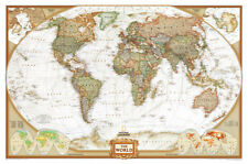 World Political Wall Map, Executive Style Antique Tones Educational Huge Poster
