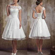 Knee Lenght Short White Lace Wedding Dress