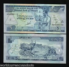 ETHIOPIA AFRICA 5 BIRR P47A 1989 1997 KUDU CARACAL UNC CURRENCY MONEY BILL NOTE