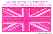 UK PINK FLAG PATCH UNION JACK Great Britain ENGLAND w/ VELCRO® Brand Fastener