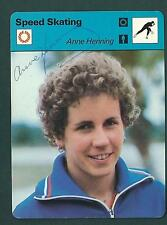 Anne Henning signed vintage 1970s Sportscaster card Olympics Speed Skating