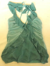 "LADIES MORGAN TURQUOISE GREEN SILK ? FRILL HALTERNECK VEST TOP CHEST 28"" 71cm"