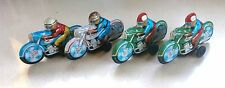 Vintage 1960 S' Lot of 4 Motorcycle Tin Police Wind Toy Japan Rubber Wheels