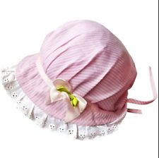 Pink & White baby Traditional bonnet cotton Sun Hat Girl Newborn Christening UK