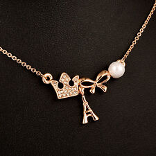 Charm Crown Bow Pearl Pendants Necklace For Women Girls 2017 New Korean Design