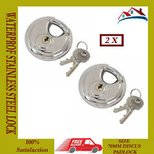 2 X NEW 70MM DISC PADLOCK SHACKLE STAINLESS STEEL LOCK 2 KEYS WATERPROOF DISC