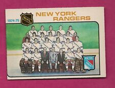 1975-76 OPC # 94 NY RANGERS UNMARKED TEAM CHECKLIST EX-MT CARD (INV#5096)