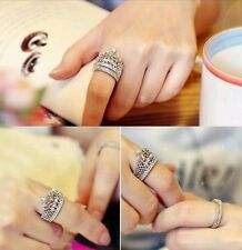 Women's Fashion Queen Crown Pattern Ring Set Rhinestone Two-piece Rings