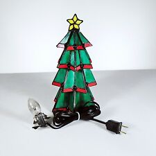 """Stained Glass Tiffany Style Lighted Christmas Tree - Approx. 9.5"""" Tall"""