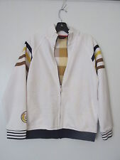 Sean John Boys/Mens White Full Zip Jacket w/ Check Liner & Pockets SIZE: M 10/12