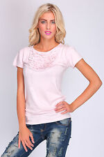 Ladies Sexy Party Top With Ruffle Short Sleeve Casual T-Shirt Size 8 - 12 FT2054