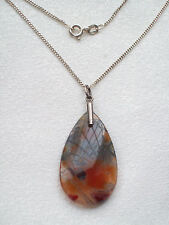 BEAUTIFUL VINTAGE JEWELLERY SILVER CHAIN & TEARDROP SCOTTISH MOSS AGATE PENDANT